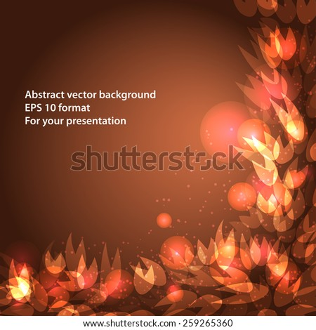frame for your text with golden petals - stock vector