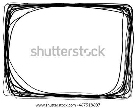 frame freehand line drawing black on white background abstract design - Drawing Frame