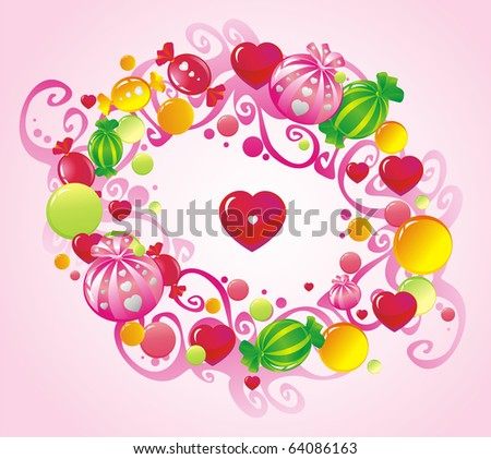 Frame from curls and sweets - stock vector