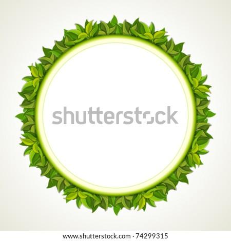 Frame from green leaves. Vector background Eps 10. - stock vector