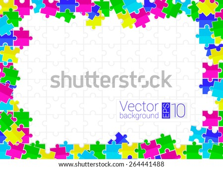 frame from scattered colored flat toys puzzles with white background - stock vector