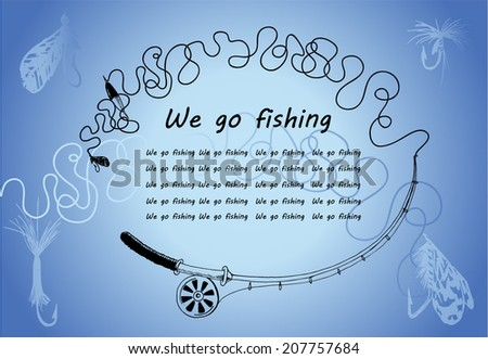 Frame from spinning. We go fishing. Knots and hooks for fishing. Fishing hook collection. Hand drawn vector illustration. Place for your text - stock vector