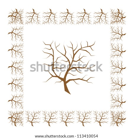 Frame from tree branches for your design - stock vector