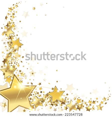 frame gold stars on a white background - stock vector