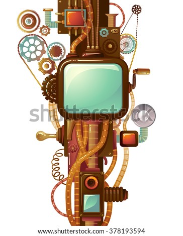 Frame Illustration Designed with Elaborate Cogs and Gears - stock vector