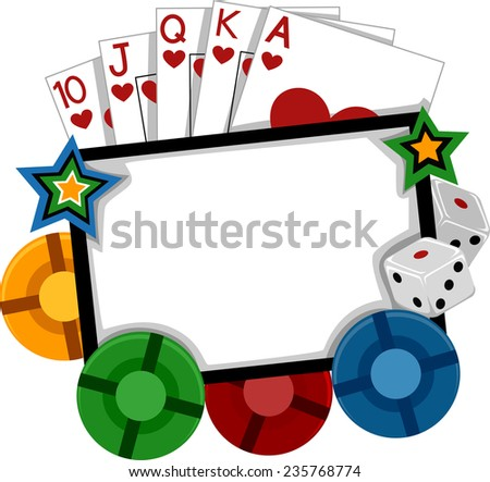 Frame Illustration Featuring Different Gambling Implements - stock vector