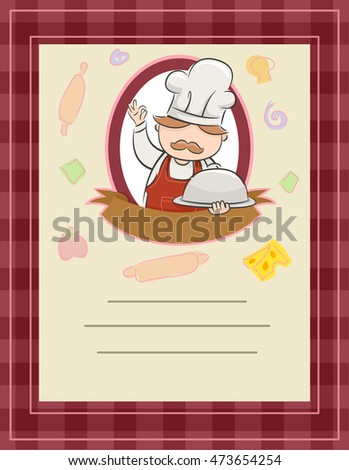 Frame Illustration of a Blank Menu Featuring a Chef Presenting a Dish