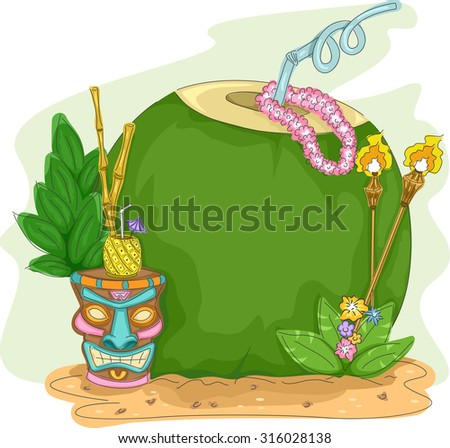Frame Illustration of a Coconut Drink with a Tiki Glass Beside It - stock vector