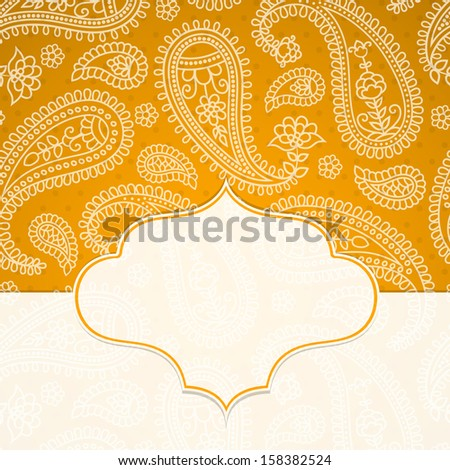 Frame in the Indian style on the background with paisley pattern. Vector illustration.