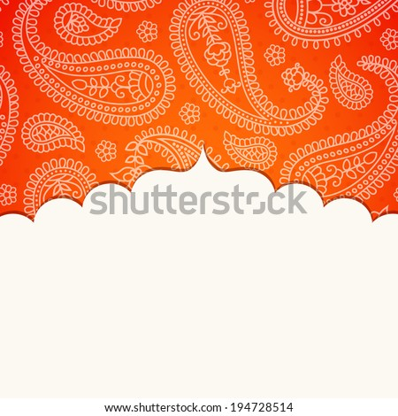 Frame in the Indian style on the background with paisley pattern. Vector illustration. Eps10 (Transparency effects). - stock vector