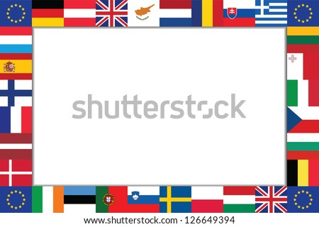 frame is composed of the flags of the EU countries - stock vector