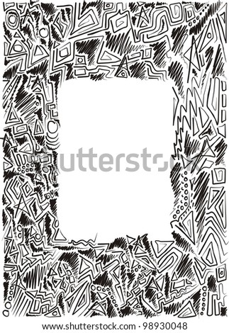 frame is hand-painted, graphic, children, black and white - stock vector