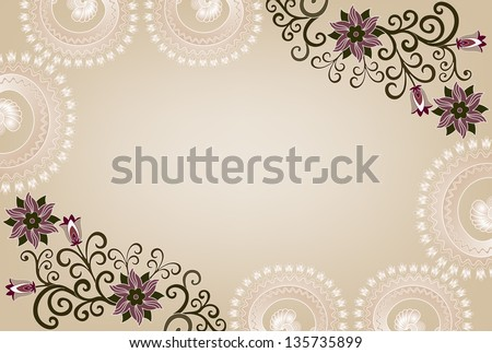 Frame Light Coffee Color With Lace And Floral Lilac Pattern