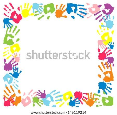 Frame made from color handprints.   - stock vector