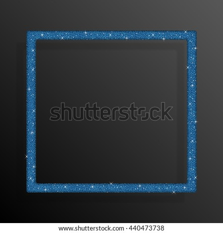 Frame made of blue sequins in the form square. Mosaic, sequins, glitter, sparkle, stars.