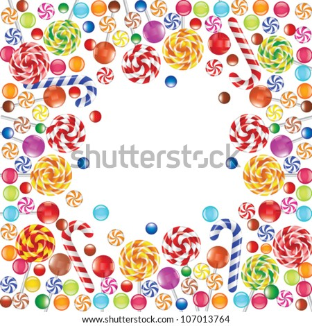 Frame made of colorful candies - stock vector