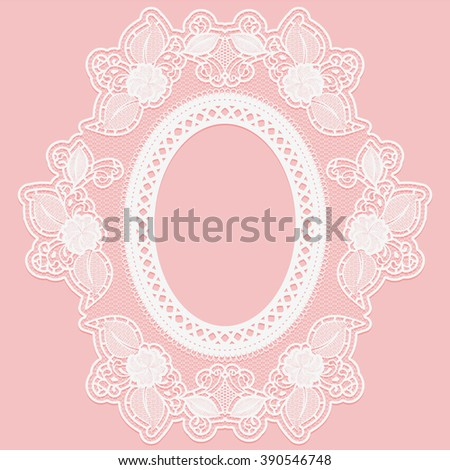 Frame made of openwork lace. White lace on a pink background. Vector illustration - stock vector