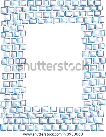 frame made of painted rectangles, squares of mosaic, hand-drawn - stock vector