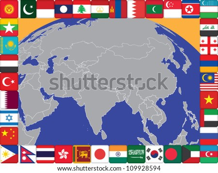 frame of Asian countries flags around the globe vector illustration - stock vector