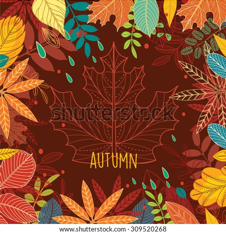 Frame of autumn leaves  - stock vector