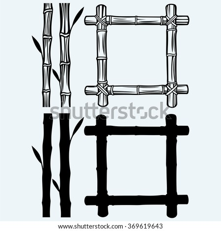 Frame of bamboo. Isolated on blue background. Vector silhouettes