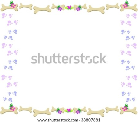 Frame of Bones, Paw Prints, Flowers and Hearts Vector - stock vector