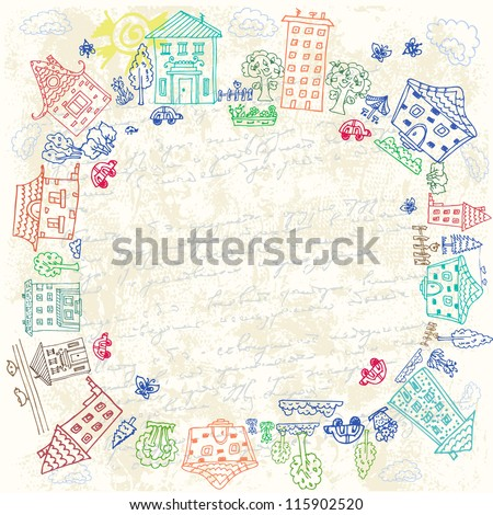 frame of city doodle grunge - stock vector