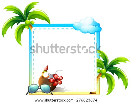 Frame of coconut and coconut trees design