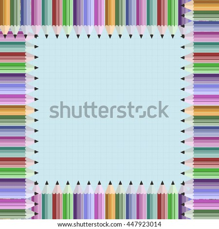 Frame of color pencil vector illustration. Colorful crayons design element on notebook backround - stock vector