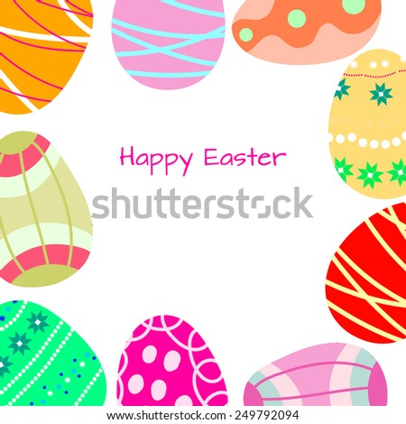 Frame of Easter eggs decorated with ornament. - stock vector