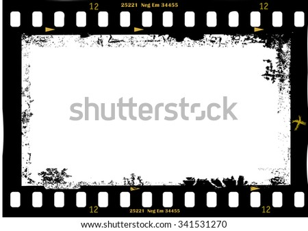 frame of film, grungy photo frame,with free copy space,vector illustration, fictional artwork - stock vector