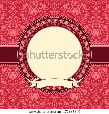 Frame of floral background with hearts (clipping mask background - stock vector