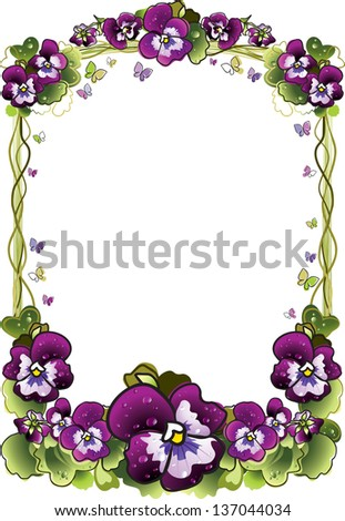 frame of flowers - stock vector