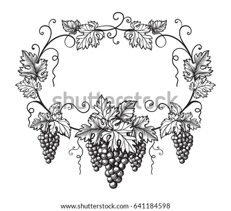 frame of grapes monochrome sketch. Hand drawn grape bunches.