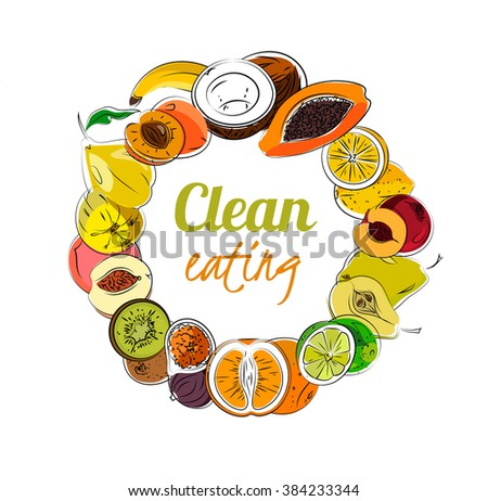 Frame of hand-drawn fruits. Vector eps10. - stock vector