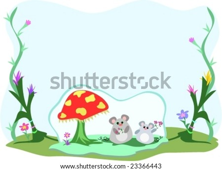 Frame of Mice, Mushroom, and Plants Vector