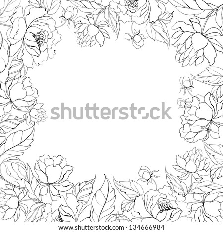 Frame of Peony isolated on white. Vector illustration. - stock vector