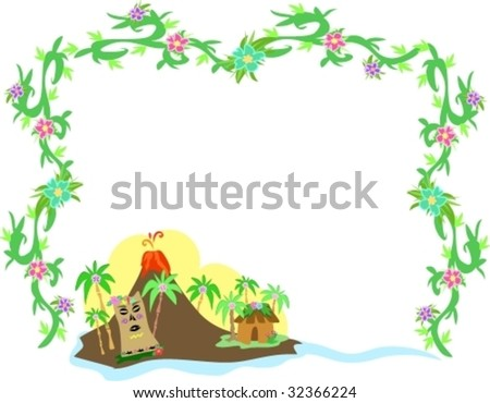 Frame of Polynesian Tiki and Volcano Vector
