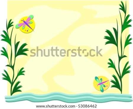 Frame of Pond and Dragonflies Vector - stock vector