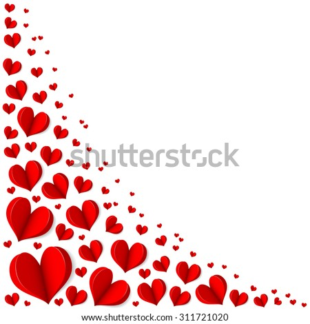 Frame of red hearts on Valentine's Day. Empty space for your text. White background. Origami. Elegant vector illustration. - stock vector