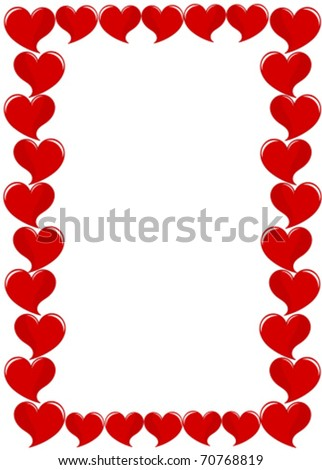 Frame of red hearts. Valentine day - stock vector