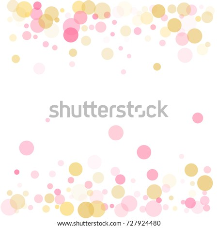 Frame Of Rose Gold Confetti Circles For Christmas Card Background Holiday Vector Illustration