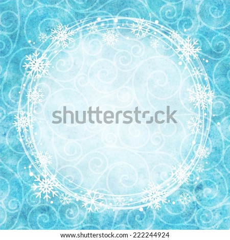 Frame of snowflakes on a watercolor background. Vector - stock vector