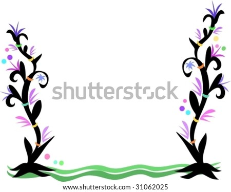 Frame of Tattoo Style Plants, Rings, and Bubbles Vector