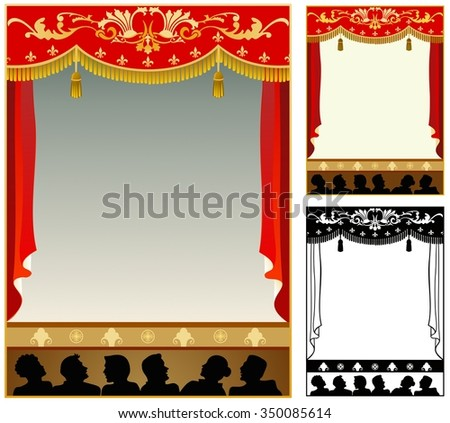 frame of theater curtain with audience - stock vector