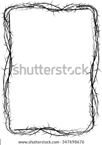 Frame Thorns Background Border Lent Season Stock Vector ...