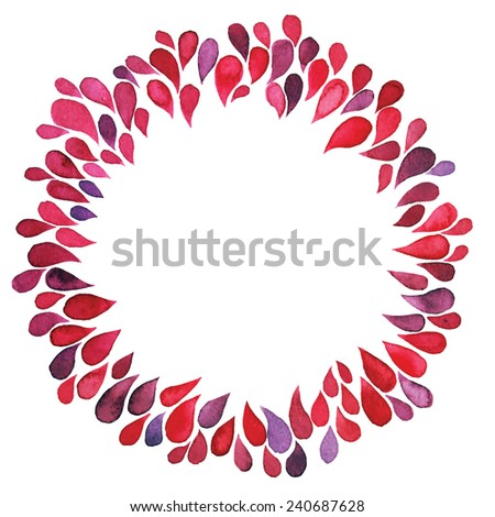 Frame of watercolor drops, red colors - stock vector