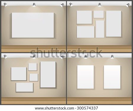 Frame on Wall for Your Text and Images Set, Vector Illustration EPS10