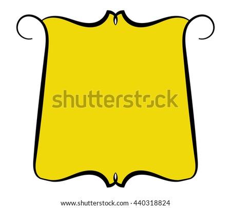 Frame. Ornate line. Yellow background. Vector illustration. - stock vector