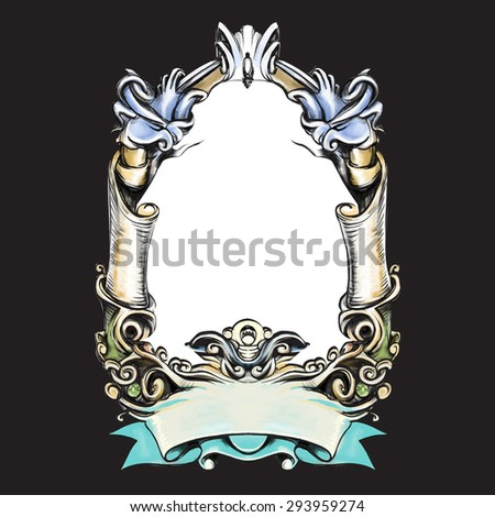 frame oval vintage baroque flowers vector - stock vector
